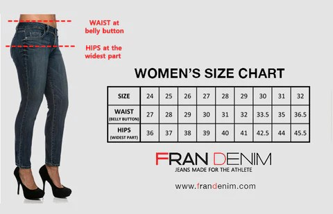 If your waist and hip measurements are off by one size go with the measurement unless differ sizes or more also sizing  fran denim rh denimshopify