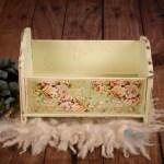 Vintage Crib Newborn Photography Prop Printed Flowers Newborn Studio Props