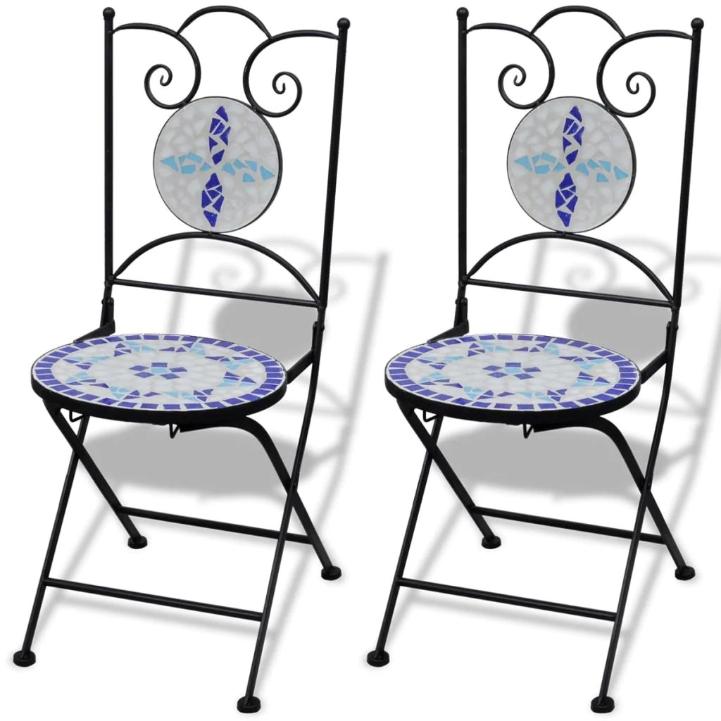White Bistro Chairs Mosaic Bistro Chair Blue White Set Of 2