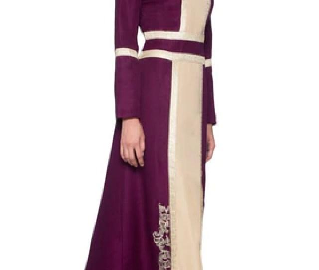 Asiya Embroidered Formal Muslim Evening Dress Purple