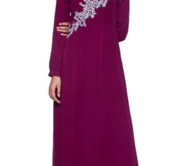 Hanna Embroidered Modest Muslim Evening Dress Purple Orchid