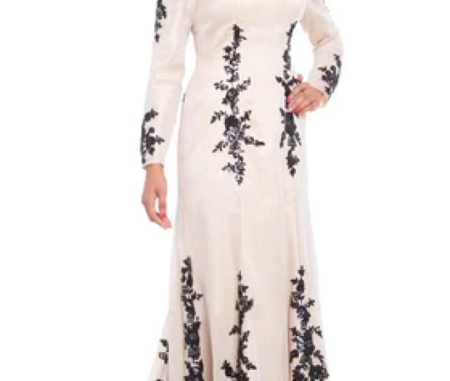Amira Long Sleeve Silk Formal Modest Muslim Evening Dress Blush Beige Artizara Com