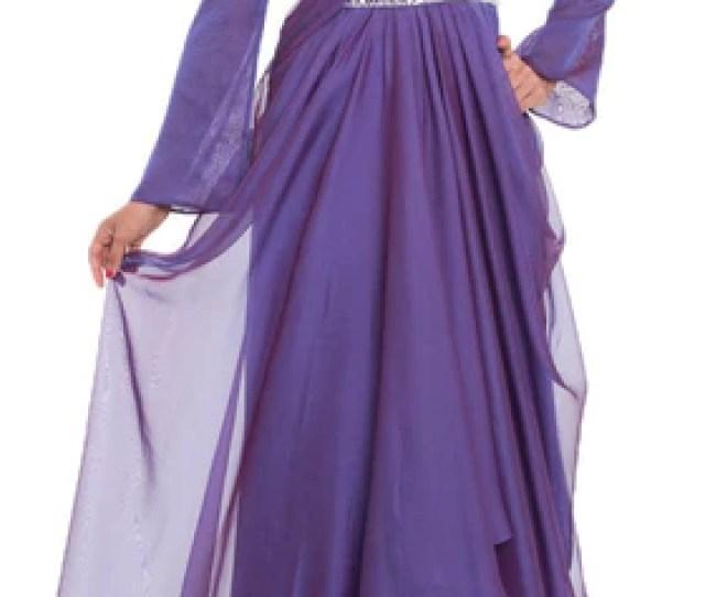 Michel Long Sleeve Silk Chiffon Modest Muslim Formal Evening Dress Purple Artizara Com