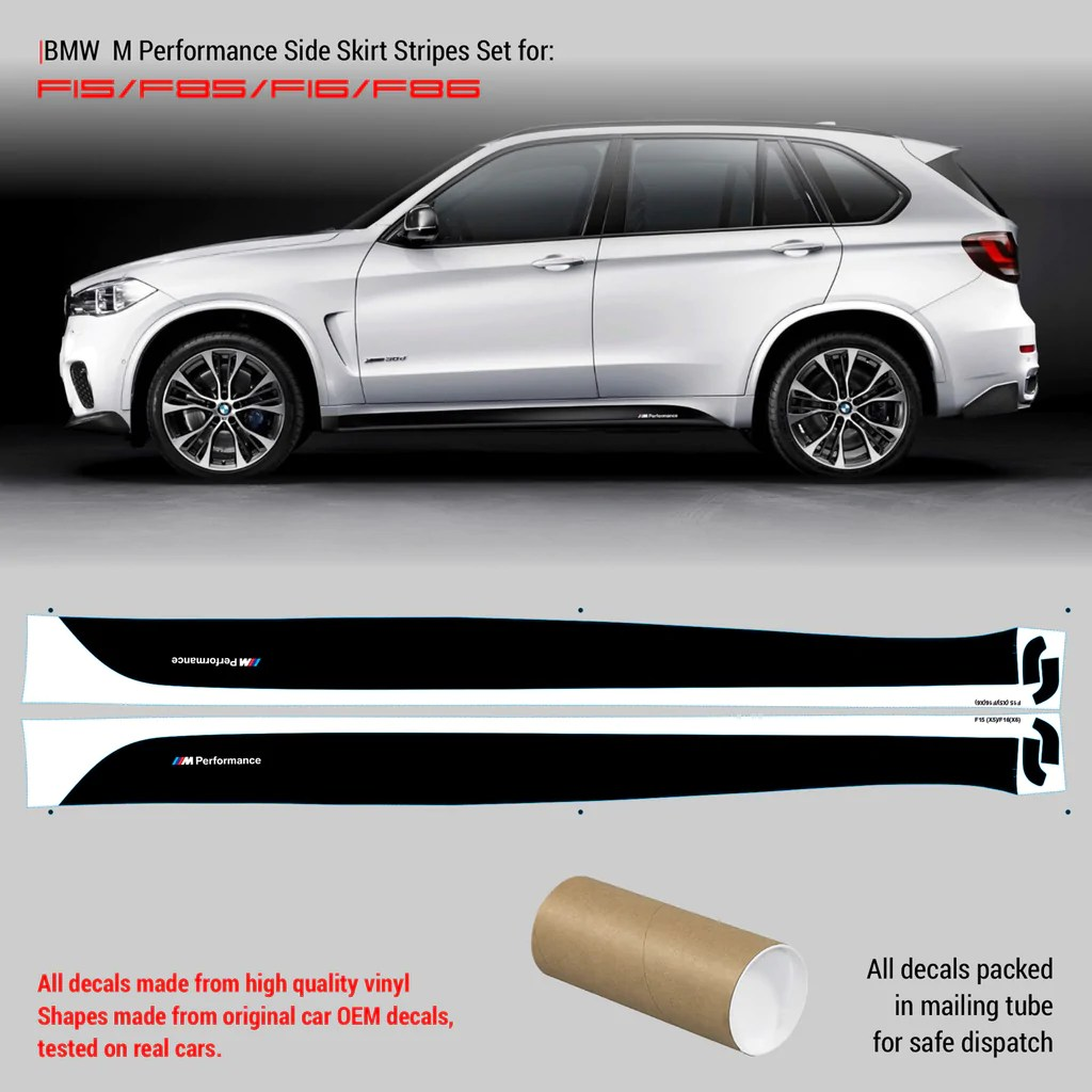 hight resolution of bmw m performance side skirt set of stripes for f15 x5 f16 x6 series