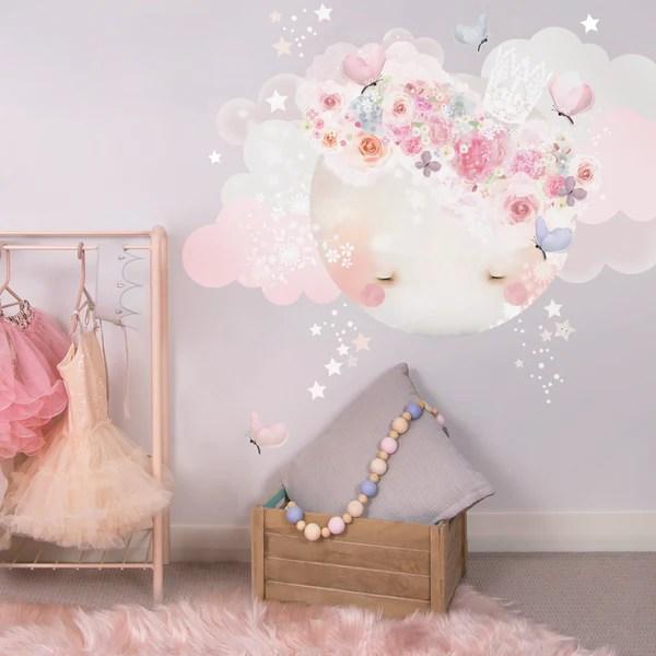 Baby Girl Nursery Removable Wallpaper Sleepy Moon Wall Sticker Schmooks