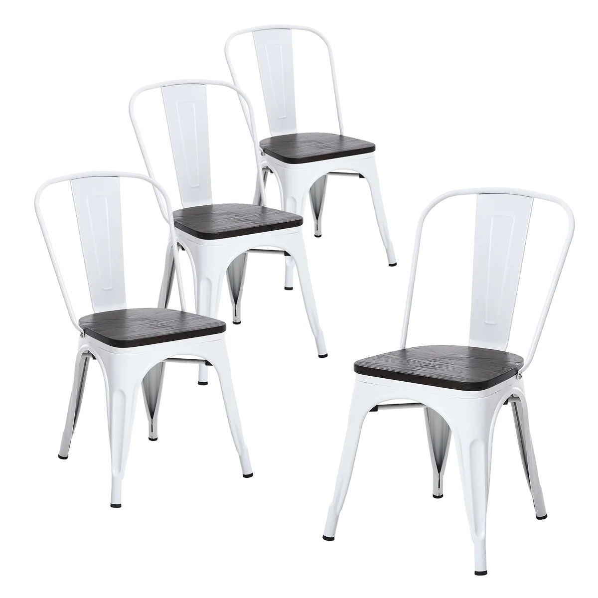 White Wooden Dining Chairs Buschman Set Of 4 Matte White Wooden Seat Metal Dining Chairs Indoor Outdoor And Stackable