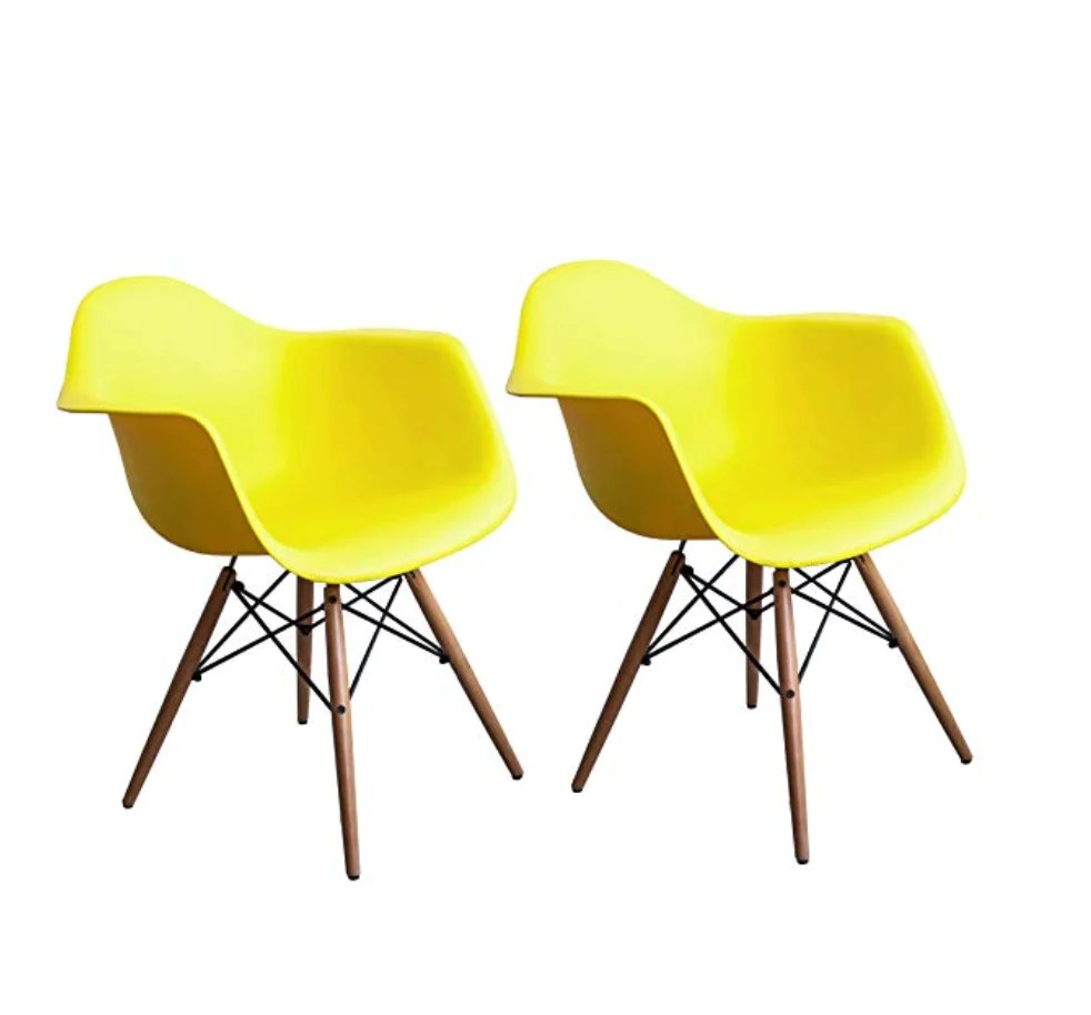 Grey And Yellow Chair Buschman Set Of 2 Yellow Chairs Mid Century Modern Dining Armchairs