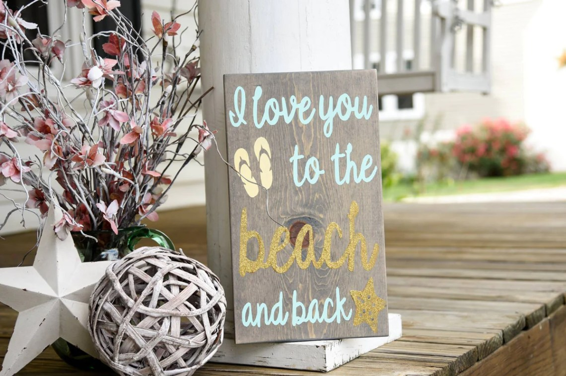 Download FREE SHIPPING!!! Love you to the beach and back wood sign ...