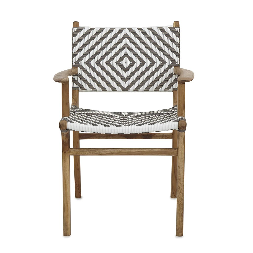 Woven Dining Chair Diamond Weave Rattan Teak Dining Chair