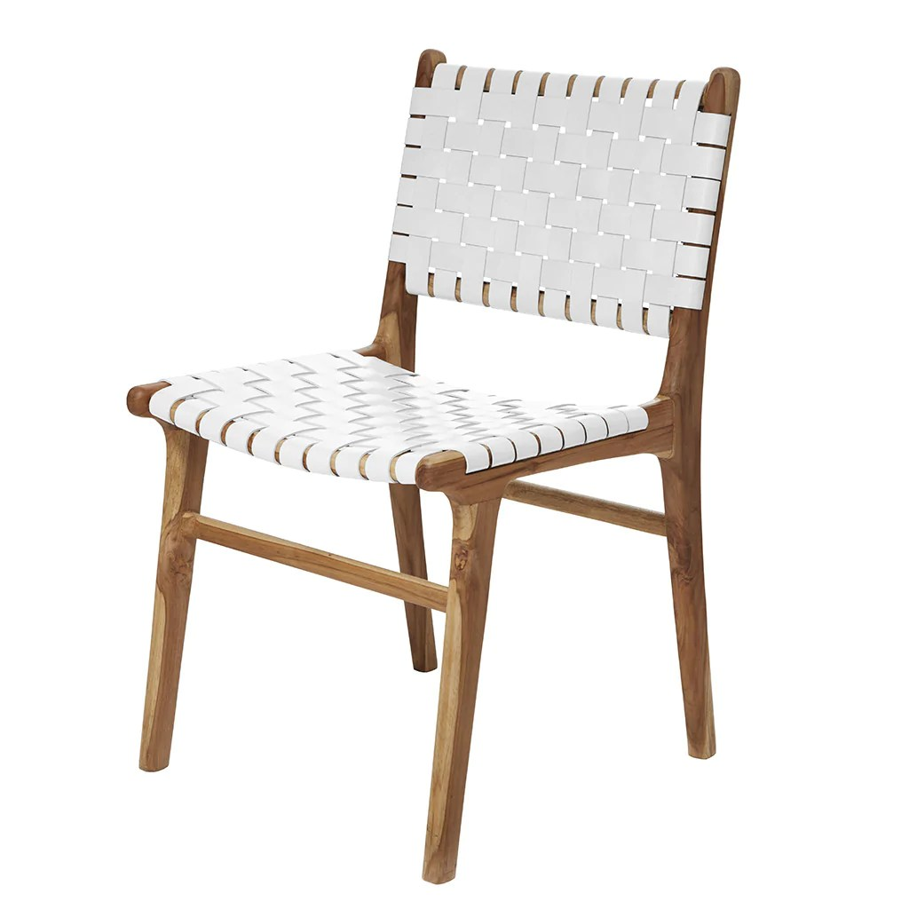 Woven Dining Chair White Leather Teak Dining Chair