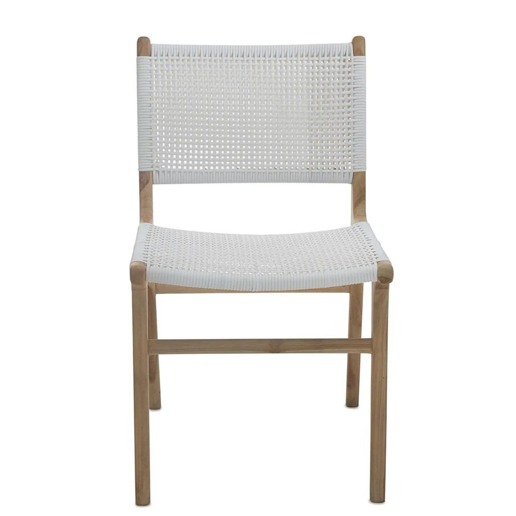 Woven Dining Chair White Open Weave Rattan Teak Dining Chair