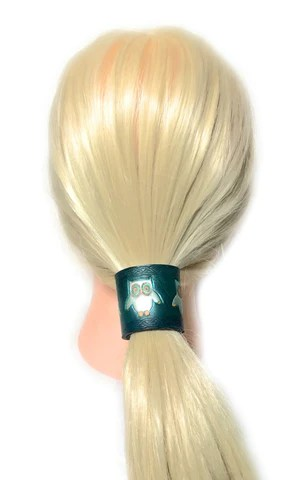 rose gold leather ponytail holder