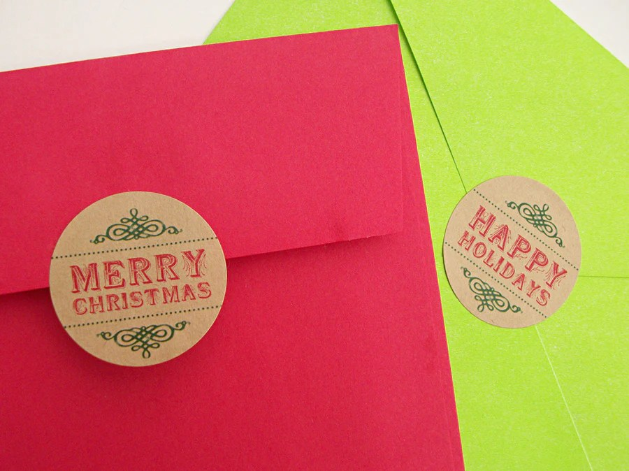 kraft christmas labels envelope