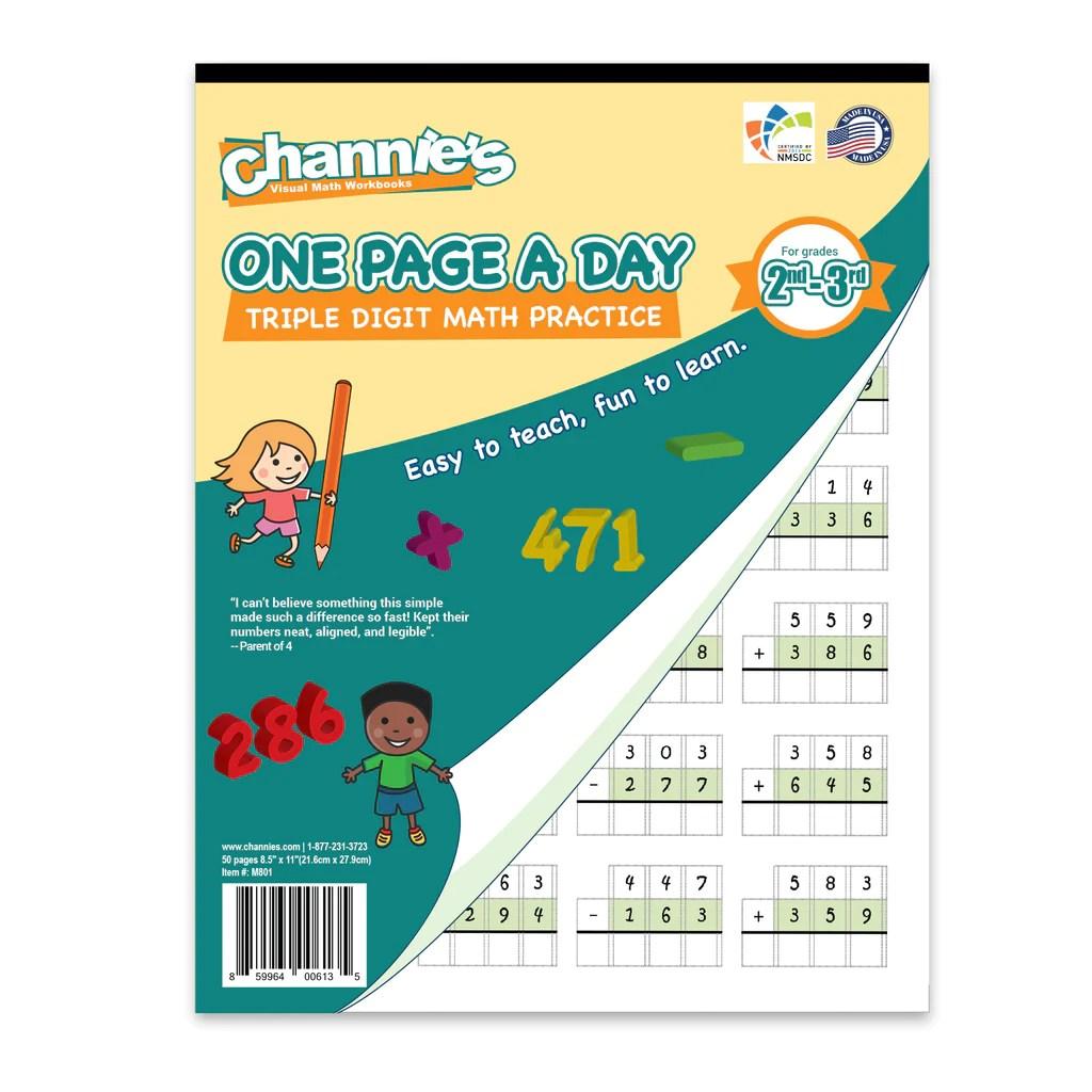 Channie's One Page A Day Triple Digit Math Workbook worksheet for Grad –  Channie's Visual Handwriting Workbooks [ 1024 x 1024 Pixel ]