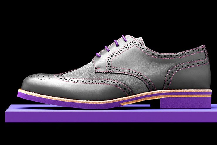 mens grey purple leather