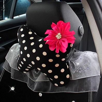 Polka Dot Bow Shaped Car Seat Headrest Pillow  Carsoda