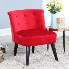 Red Tufted Dining Chair Ergonomic Uk Ikea Roger Velvet Accent With Details Sofamania