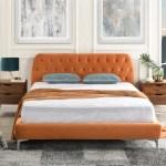 Dara Modern Tufted Bed With Tufted Velvet Headboard Rust Orange Sofamania