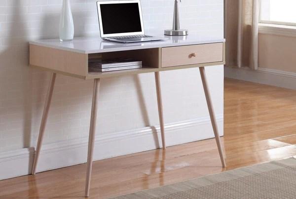 Flamingo Mid Century Modern Writing Desk with Drawer