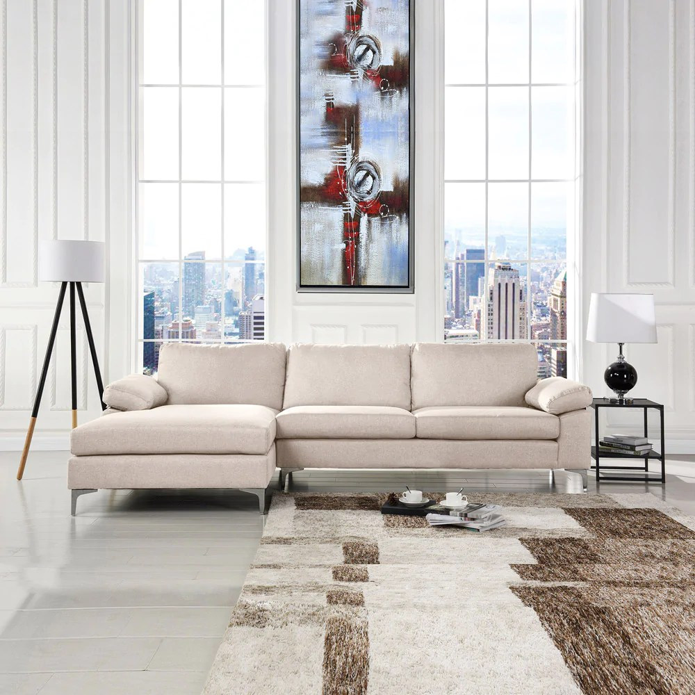 amanda modern linen large sectional sofa