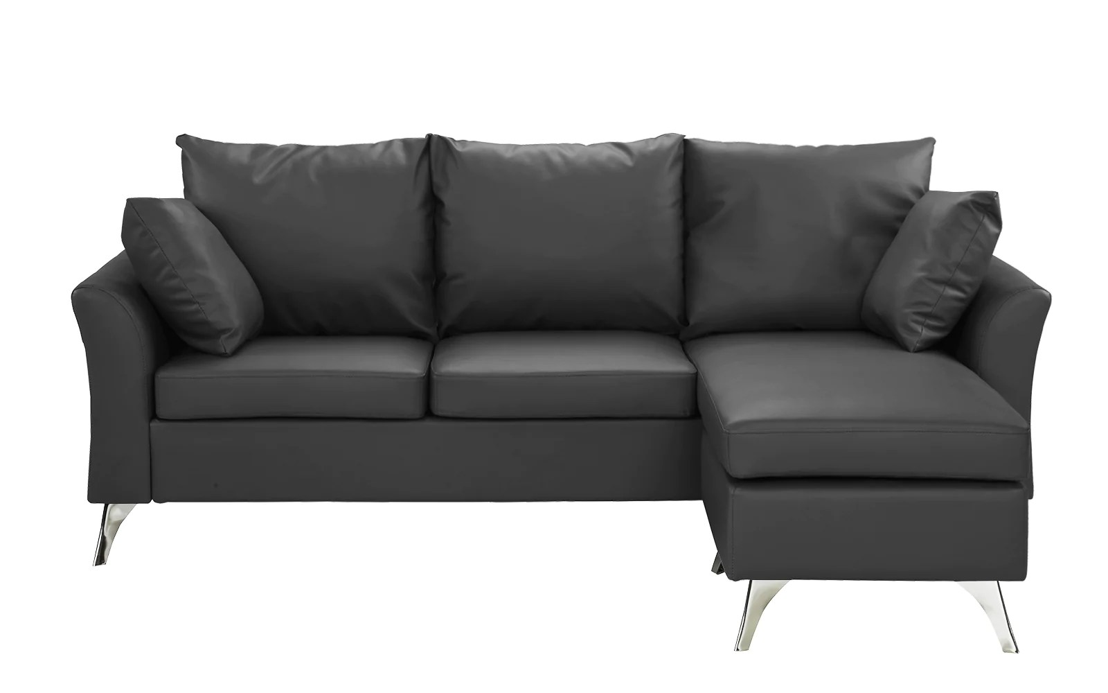 small es configurable sectional sofa black banana leaf ellery modern chaise lounge sleeper sofamania
