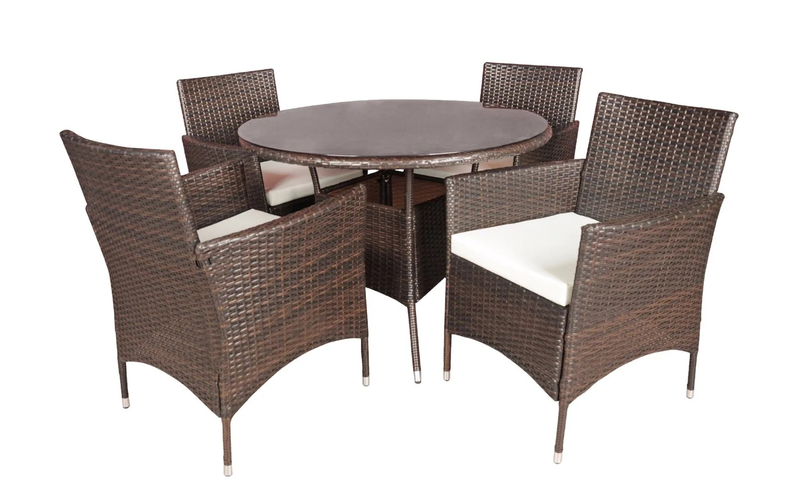 Dining Room Chairs Set Of 4 Malibu Classic Rattan Outdoor Dining Table And 4 Chairs Set