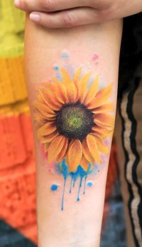 Cute Realistic Sunflower Forearm Tattoo Ideas for Women ...