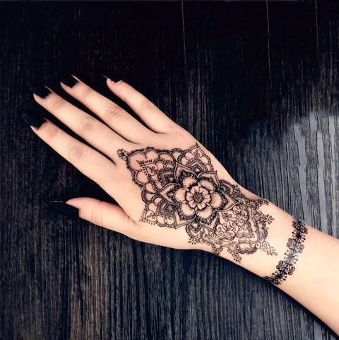 Kira Ethnic Black Sacred Mandala Flower Lotus Hand Temporary Tattoo