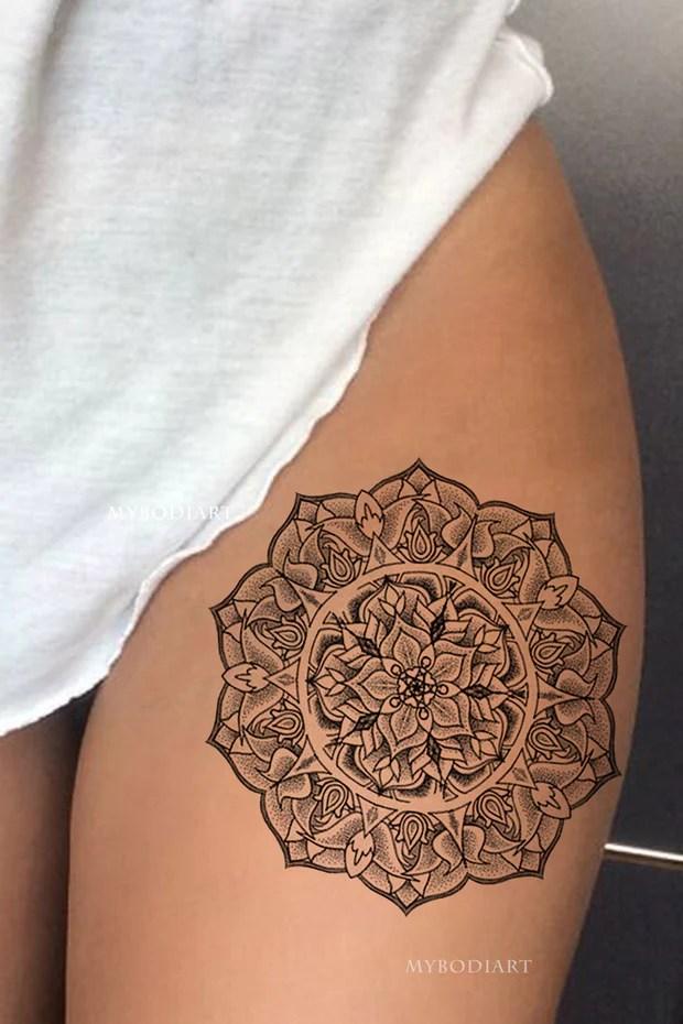 Large Mandala Temporary Tattoos Tagged Colorblack White