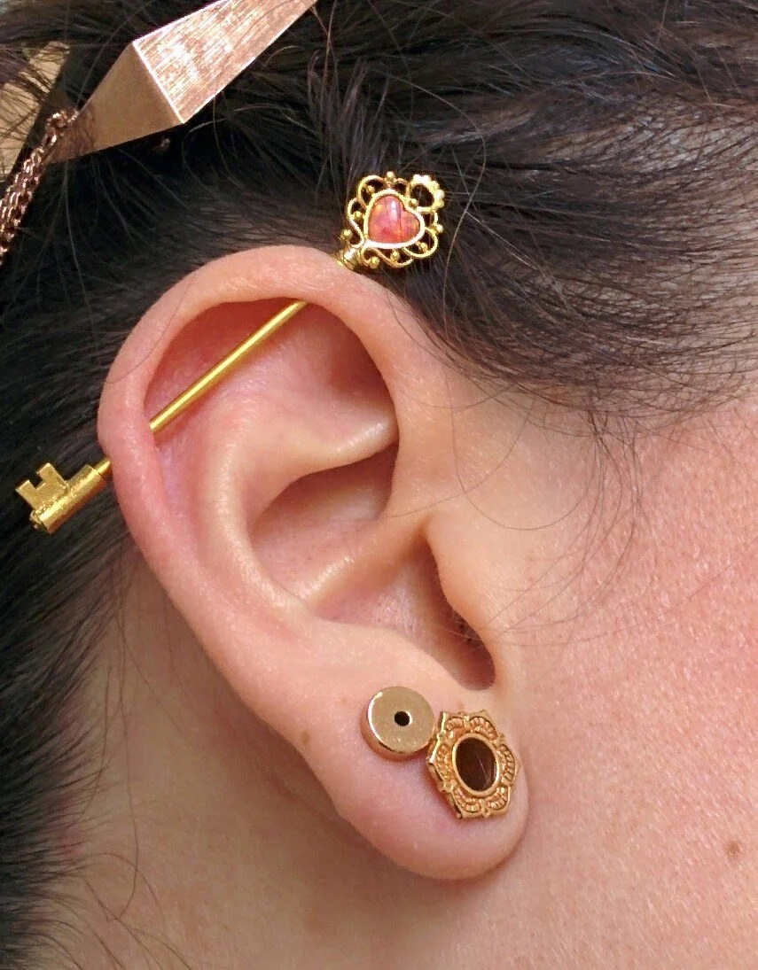 Industrial Piercing Jewelry Gold : industrial, piercing, jewelry, Industrial, Barbell, Piercing, MyBodiArt