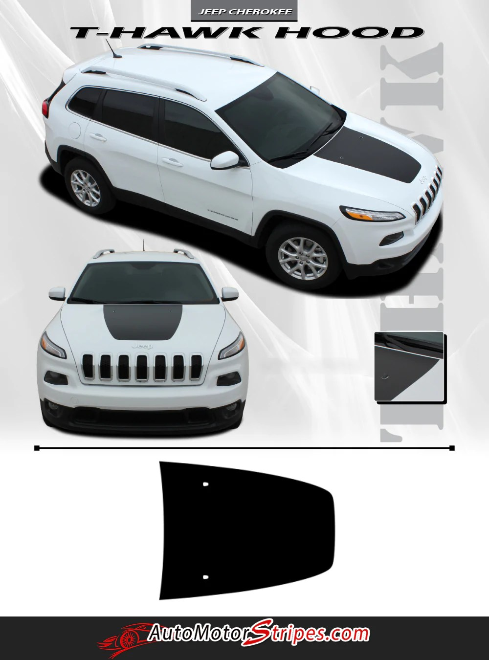 Jeep Grand Cherokee Hood Decals : grand, cherokee, decals, 2014-2021, Cherokee, Decal, T-Hawk, Trailhawk, Center, Stripe, Motor, Stripes, Decals, Vinyl, Graphics, Striping