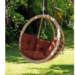 Hanging Chair Wood Traditional Office Chairs Single Terracotta Wooden Swing Globo Hammock Barn From Tree