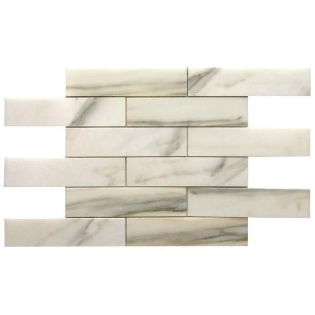 calacatta marble mosaic tile in 2x8 long brick subway tiles pattern polished