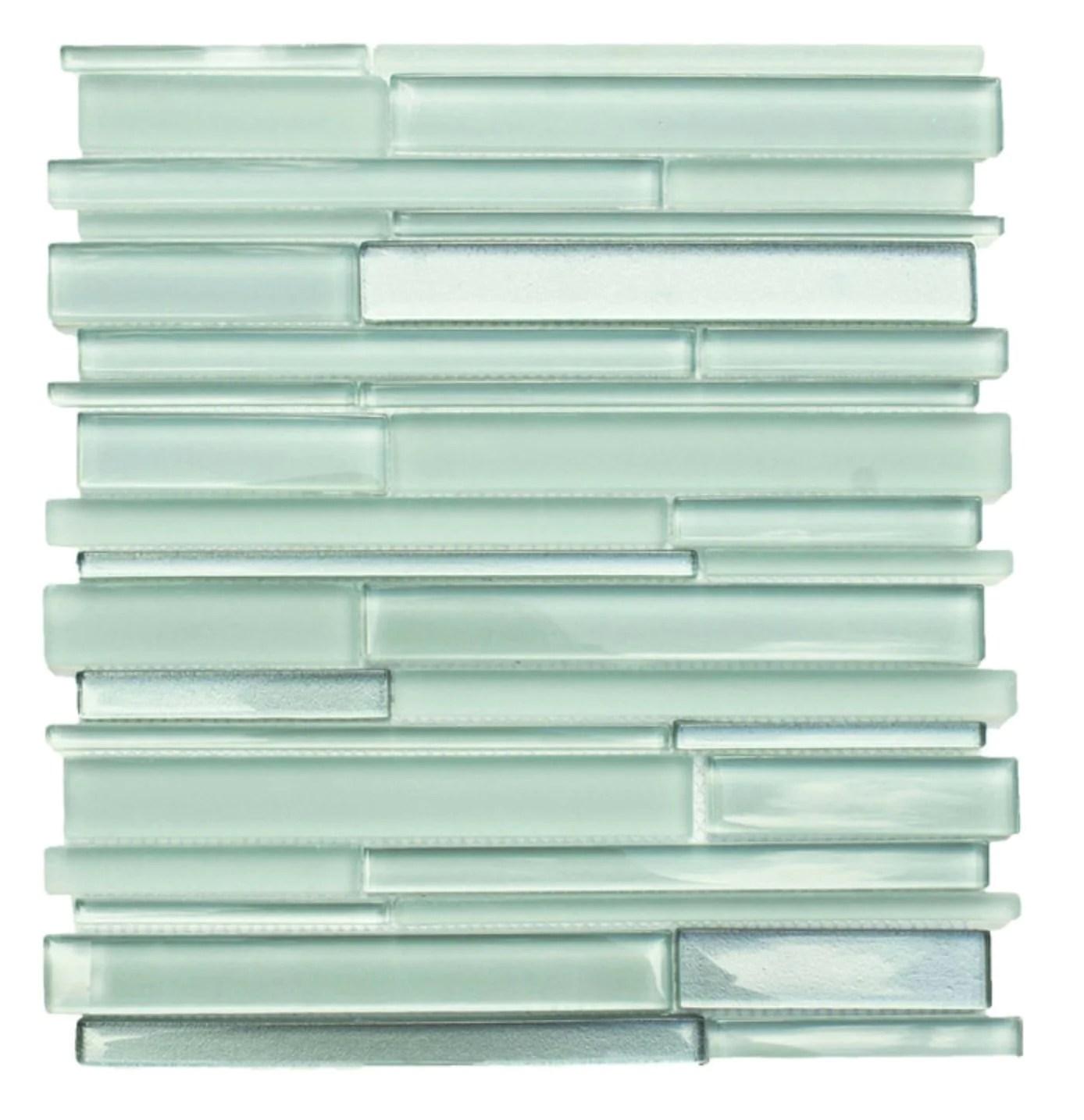 coastal green glass simple strip mosaic tile in sea glass
