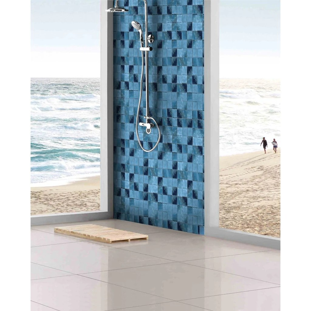 glossy caribbean blue pool rated glass mosaic wall tile in 2x2 squares