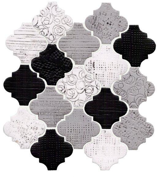 rose cameo black white arabesque lanterns ceramic mosaic tile