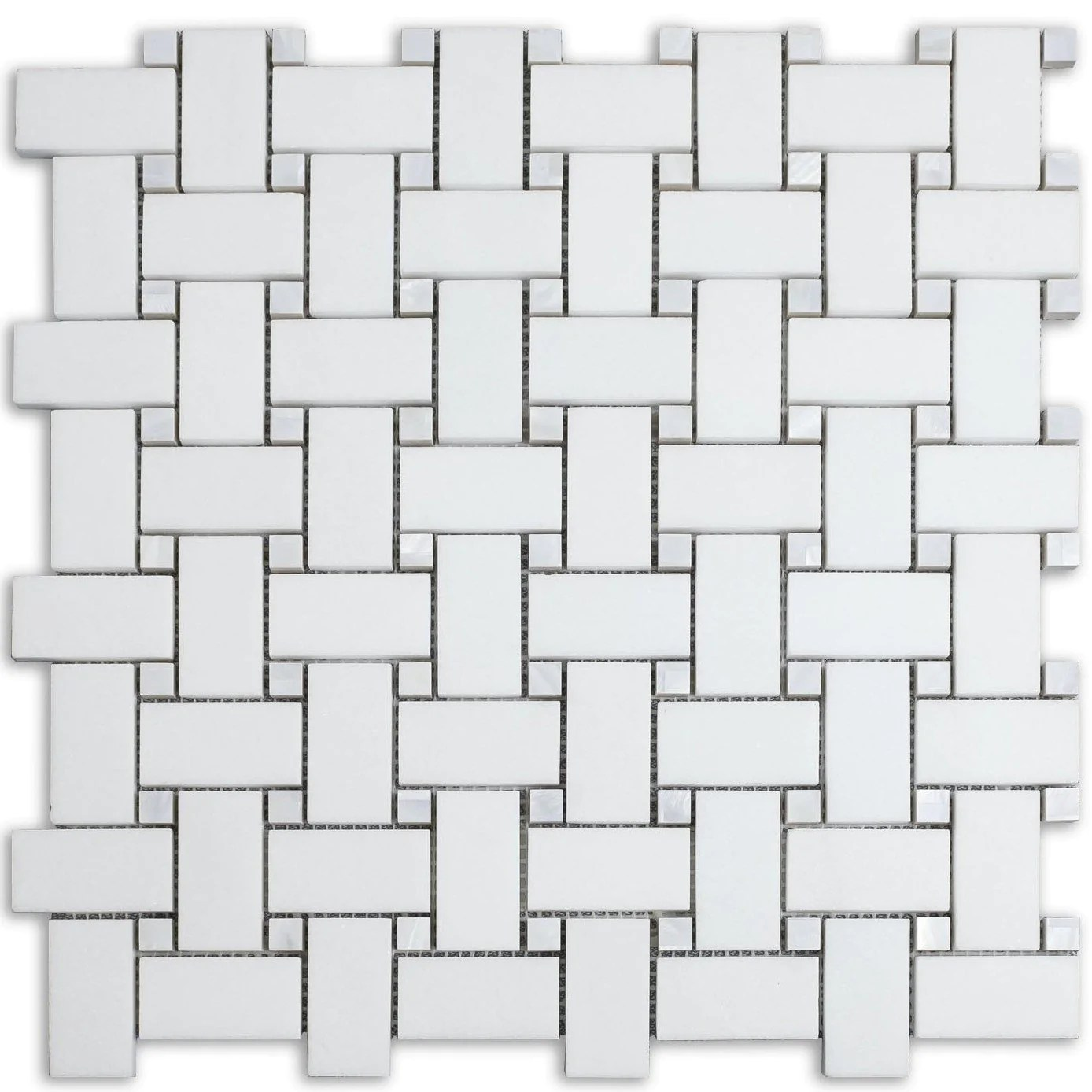 white thassos marble and mother of pearl mosaic tile in basketweave
