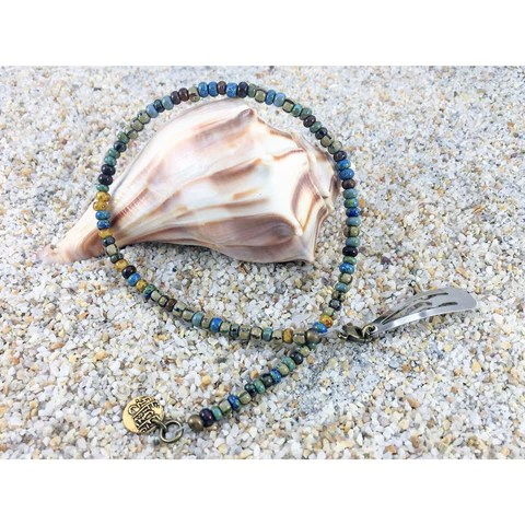 boho hair jewelry - avocado tropically