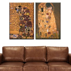 Modern Living Room Canvas Art White Decor 2 Pcs Best Gustav Klimt Kiss Home Wall Picture Print