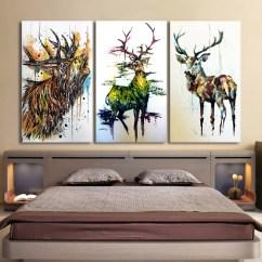 Paintings For Living Room Interior Design Kerala Style Hd Printed 3 Piece Elk Graffiti Deer Canvas Wall Art Framed