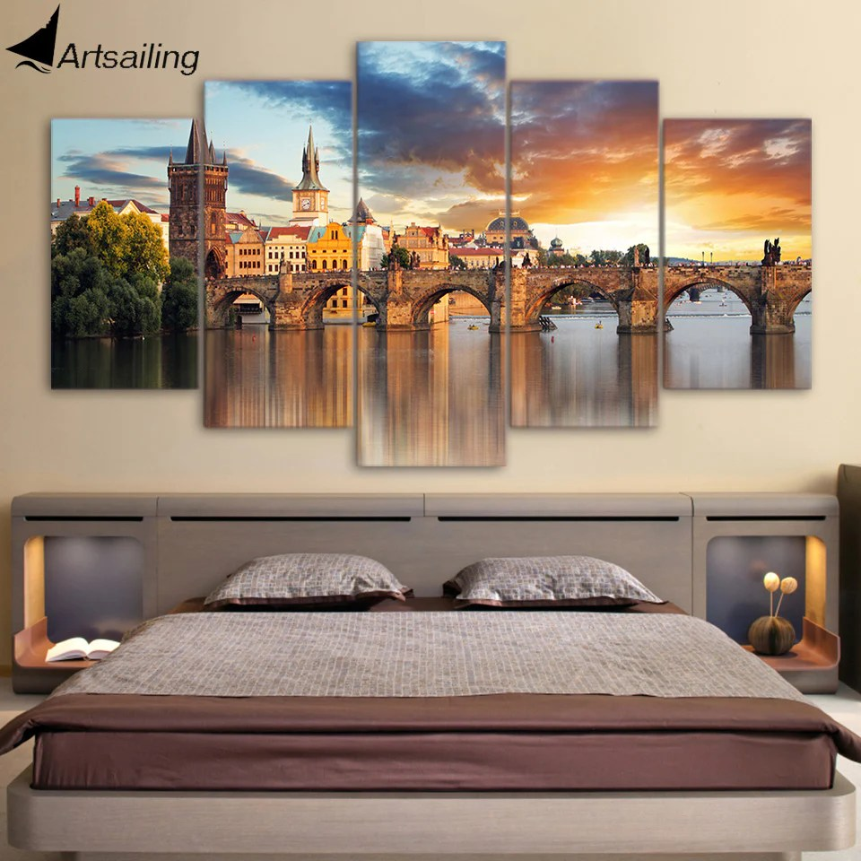 canvas prints for living room recessed lighting ideas hd printed 5 piece art bridge building landscape painting artwork decor panel framed
