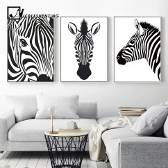 White Wall Decorations Living Room Bethpage New York Black Animal Zebra Art Canvas Posters And Prints Painting Pictures For