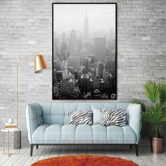 Living Room Art Decor Display Unit City Building Nordic Abstract Wall Pictures For Decoration Scandinavian Canvas Painting Prints