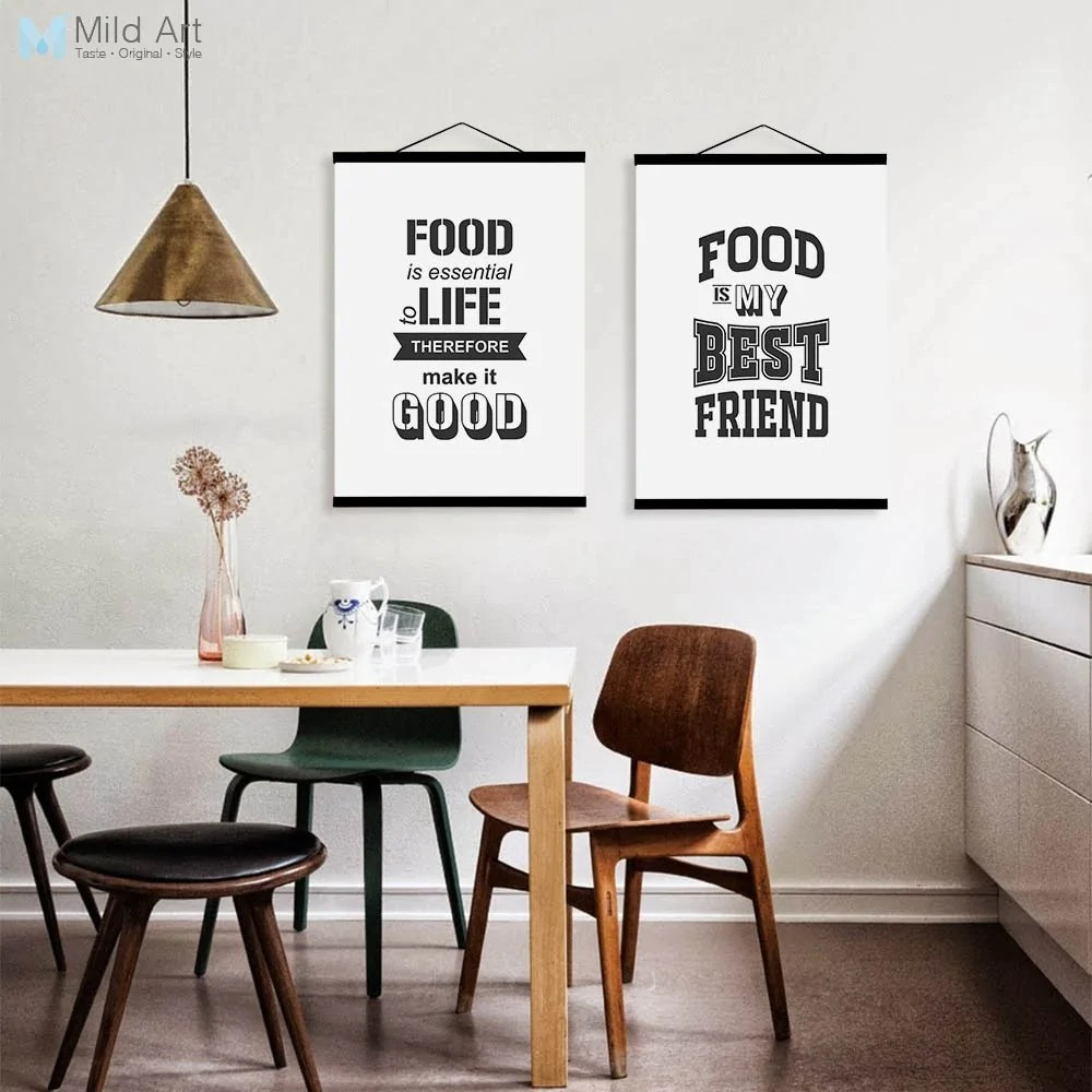 framed prints for kitchens small designs black and white food family love quotes wooden posters nordic kitchen cafe scroll wall