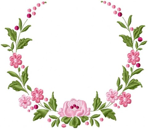 Floral Circle Border  Machine Embroidery Design  Bling