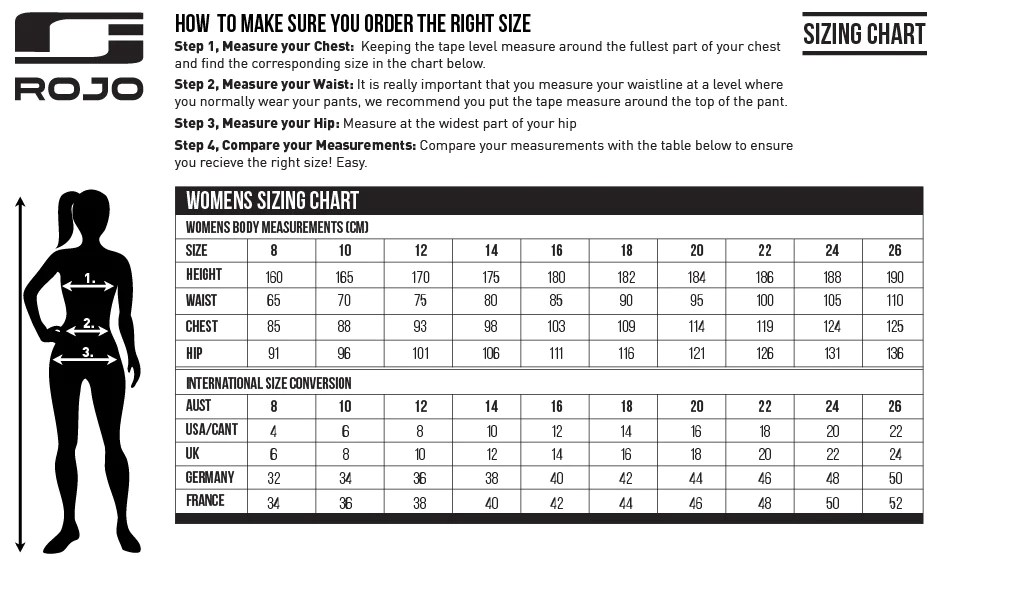 Womens size chart also charts rojo outerwear australia snow gear sizing rh rojoouterwear