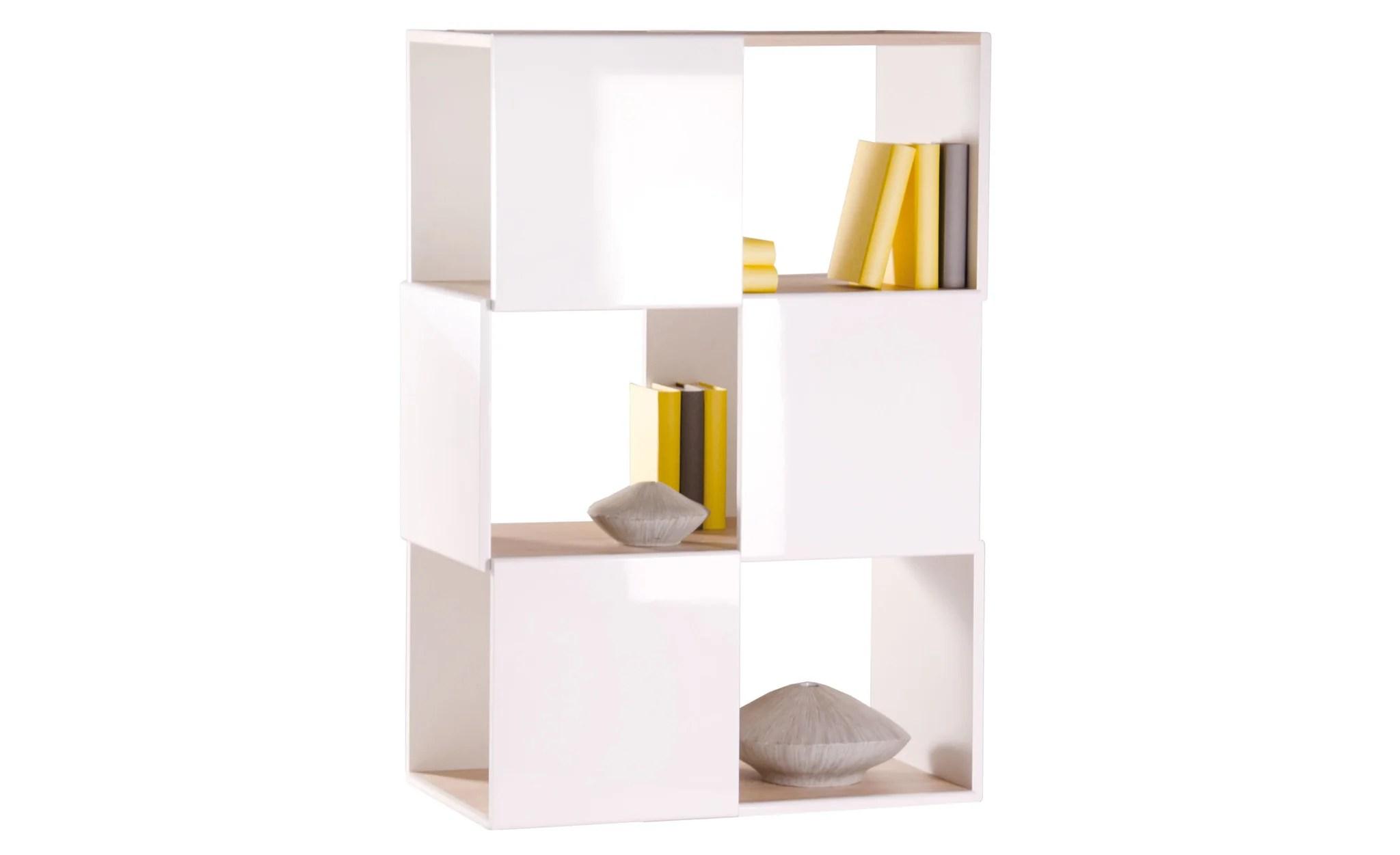 Room Divider Medium, White High Gloss With Oak