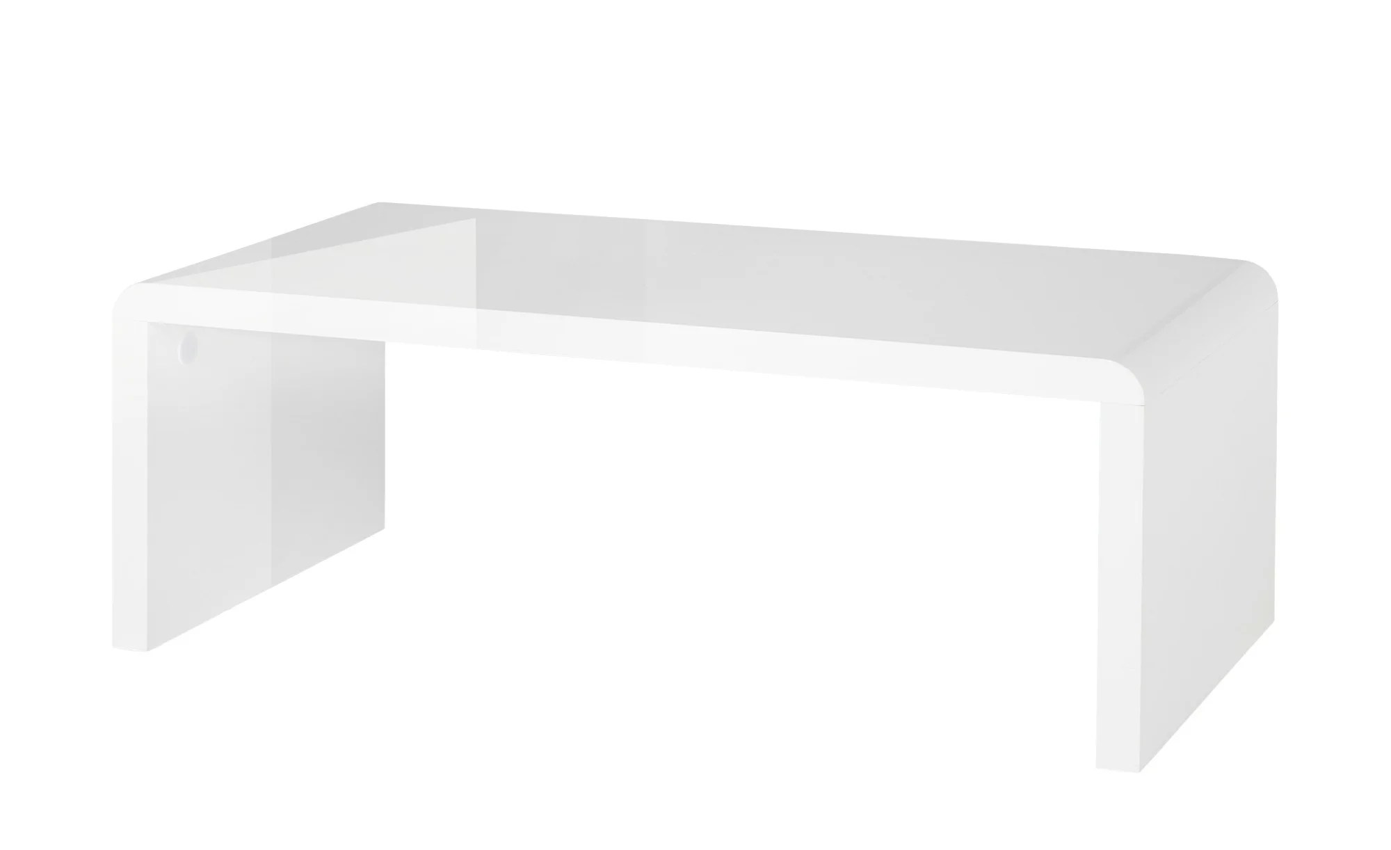 Coffee Table With Round Corners, White High Gloss
