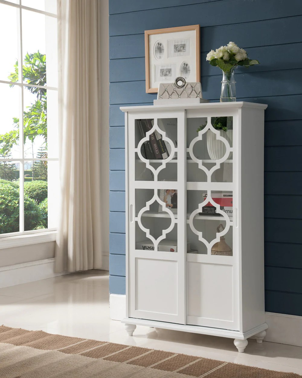 Chase White Wood Contemporary Curio Bookcase Display Storage