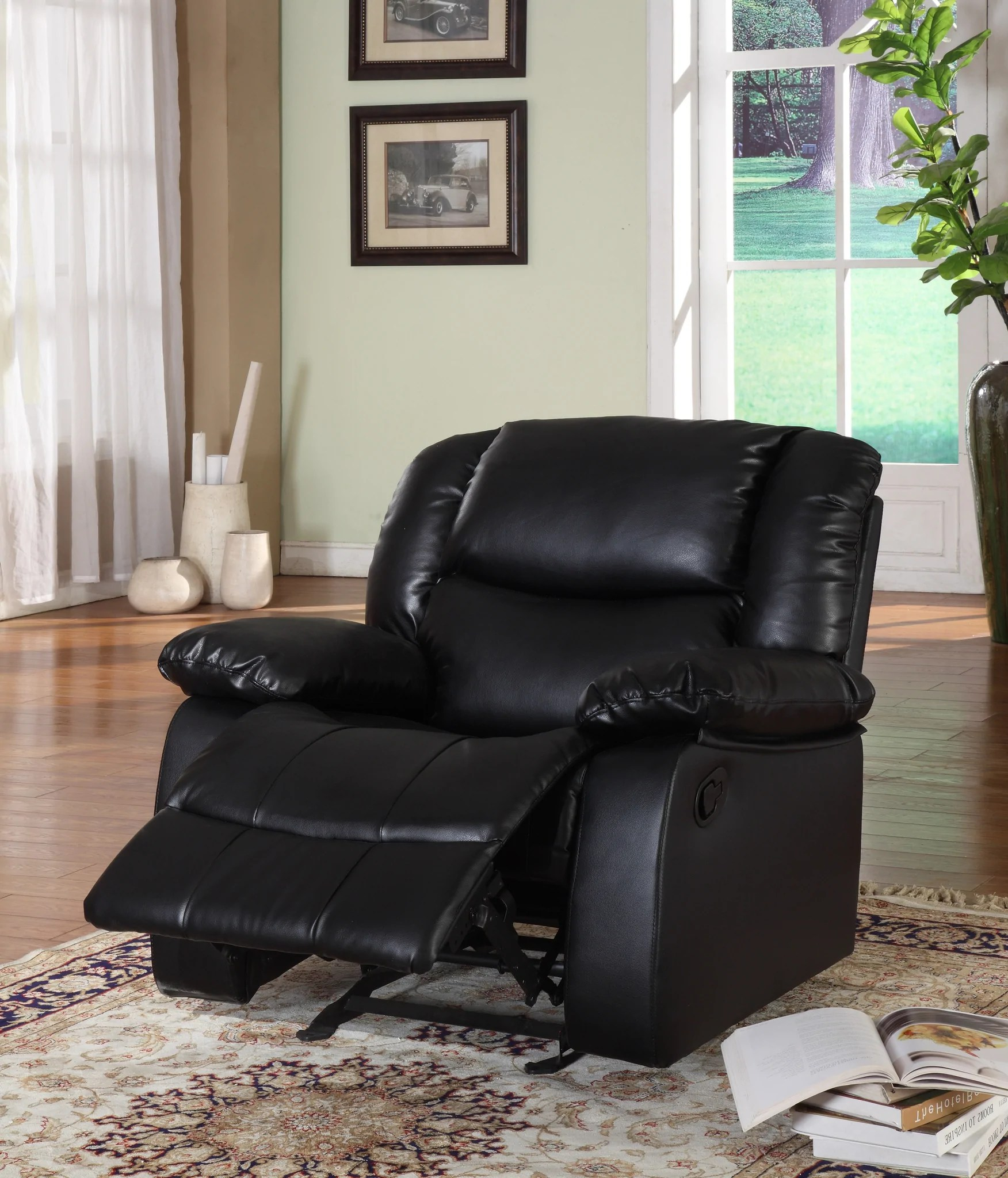 brooklyn bonded leather lounger chair and ottoman lounge black chocolate merlot or putty upholstered microfiber transitional configurable motion